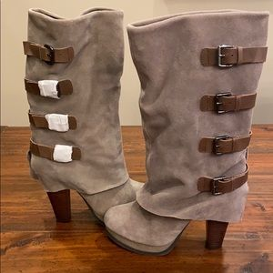 NWT Sand Suede Boots with buckles.